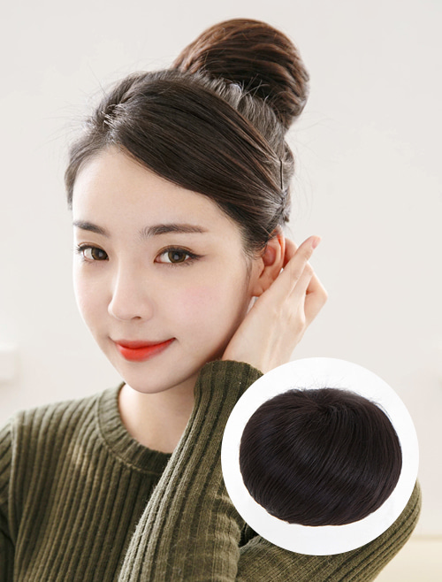 Human Hair Upstyle Wig Real Basic Large (Hair Bun Extensions with Mini Claw Clip)