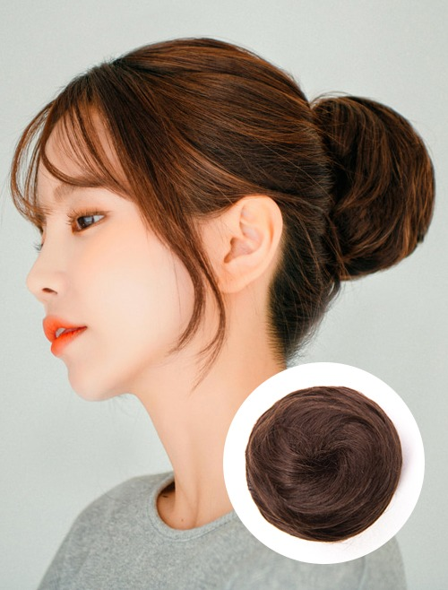 Human Hair Upstyle Wig Basic Medium (Hair Bun Extensions with Mini Claw Clip)